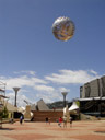 civic square, with the famous silver-fern ball