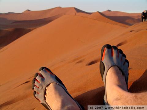 vibram fivefingers at dune 45, sossusvlei, namibia