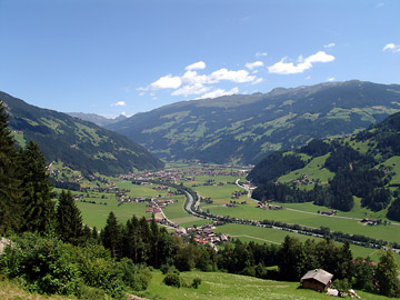 the ziller valley (or zillertal valley), looking northwards from hippach