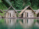 floating bamboo huts