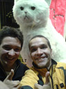 anton and i with giant stuffed cat