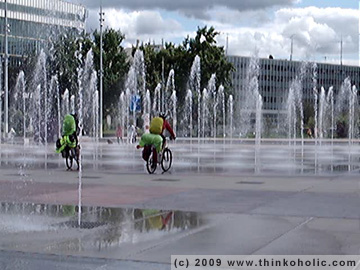 biking through the united nations fountain