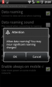 datenroaming-einstellungen in android (htc desire)