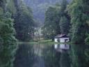 a calm pond - today's bat-night location. 2005-08-19, Sony Cybershot DSC-F717.