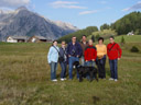 group photo, w/ the walderalm pasture in the background. 2005-10-06, Sony Cybershot DSC-F717.