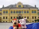 ramona and pig in front of schloss hellbrunn. 2005-10-07, Sony Cybershot DSC-F717.