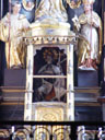 abbot konrad II's skeleton, on the high altar. 2005-10-08, Sony Cybershot DSC-F717.