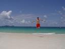 self-timer fun at whitehaven beach