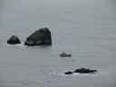 ...das grössenverhältnis macht's aus || foto details: 2006-01-31, trinidad, ca, usa, Sony DSC-F717. keywords: fishing boat, rock, sea, fischerboot, fels, meer, felsen