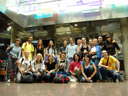 group photo at innsbruck airport. 2007-08-30, Sony F828.