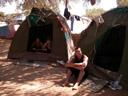 back at the campsite - miriam, barbara & christian. 2007-09-05, Pentax W20. keywords: sesriem restcamp