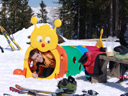 if you think a giant caterpillar is a strange thing on a ski slope, think again!. 2008-03-30, Sony F828.