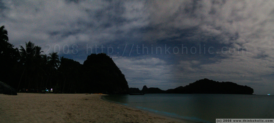 panorama: bioluminescence (the blue gleam) at the beach, ko wua ta lap