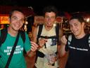 markus, rene & mathias taste fried grasshoppers. 2008-08-17, Sony F828.