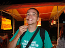 markus tastes a fried grasshopper. 2008-08-17, Sony F828.