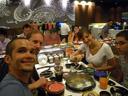ich, stefan, lisa & mathias, running sushi || foto details: 2008-09-09, bangkok, thailand, Pentax W60.
