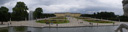 panorama: great parterre and schönbrunn palace, view from the neptune well