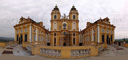 panorama: western facade of melk abbey, with collegiate church, view from altane