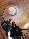 cindy & larry, spiral staircase between the library and church