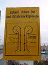 inappropriately amended road sign in linz