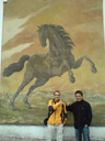 anton and i with giant drawn horse
