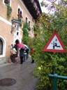 hallstatt street sign: attention, waiters!