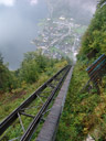 the funicular goes steeply uphill!