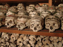 decorated skulls in the ossuary