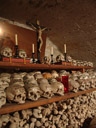 decorated skulls in the ossuary. 2008-09-25, Sony F828. keywords: beinhaus hallstatt , bone house, ossuary, karner, human skulls, cemetary