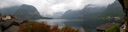 panorama: view of hallst&auml;tter lake from our room at br&auml;u-gasthof lobisser