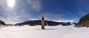 panorama: the old church tower in frozen lake resia. 2009-03-14, Sony F828. keywords: snow, snowscape, winter scenery, spire, bell tower, schnee, winterlandschaft, schneelandschaft, lago di resia