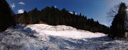 panorama: a small streambed is completely buried by an avalanche. 2009-04-07, Sony F828. keywords: snowslide