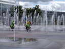biking through the united nations fountain. 2009-07-18, .