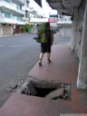 one of the usual dangers that pedestrians face in indonesia.