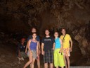 bat cave group photo: our guide jemmy, annabelle, william, math, agnes and me.