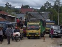 typical traffic at pasar bolu, rantepao.