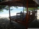 beachfront restaurant seating, gili meno