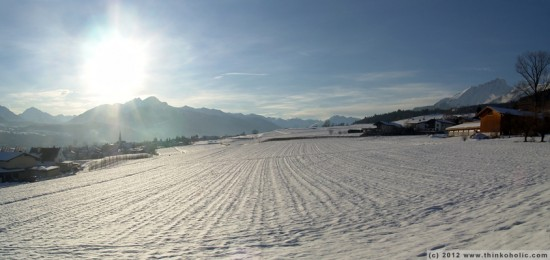 panorama: thaur fields, looking towards rum (winter landscape)