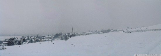 panorama: different view - rum during strong winter snowfall