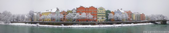panorama: mariahilf, innsbruck in winterpanorama: mariahilf, innsbruck's most beautiful houses in winter