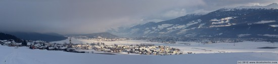 panorama: thaur and the inn valley (winter landscape)