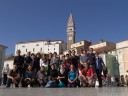 group photo at tartini square, piran