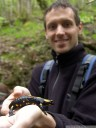 bozo and the fire salamander (salamandra salamandra). 2012-04-22 01:13:58, DSC-F828.