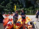alice (looking bad-ass) and me - canoe-partners in gorges de l'ardèche