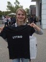 pixelsophie with her new lytro t-shirt. 2012-09-21 08:09:02, DSC-F828.