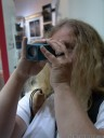 a nearly-blind woman tests the lytro lightfield camera at photokina 2012