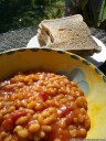 sunday morning breakfast: baked beans and toast. 2012-10-07 11:38:40, Galaxy Nexus.