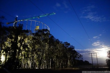 gas ring, canopy crane and moonset - early morning at the UWS EucFACE site.