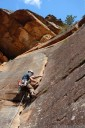 john lead-climbs flake rock, mt. piddington, blue mountains. 2012-11-04 05:46:12, DSC-RX100.