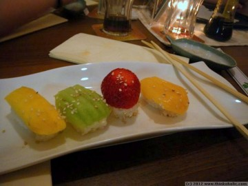 sweet sushi at oishi's sushi bar, innsbruck